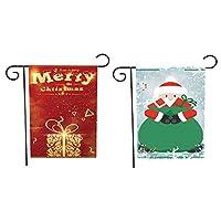 冬とクリスマスの装飾用の2パックのクリスマスガーデンフラグ012 + 017ワンサイズ