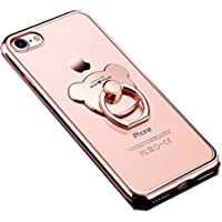 【K.K.I】 iPhone 7/8 ローズゴールド TPU ソフト 落下防止リング付き かわいいクマ型 スリムデザイン 軽量 バンカーリング スタンド機能 スマホカバー バックカバー アイフォンケース (ローズゴールド) (iPhone 7/8)