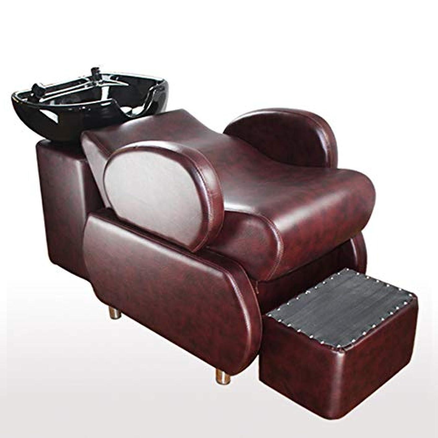 信仰白い平和的シャンプー椅子、逆洗ユニットシャンプーボウル理髪シンク椅子半横たわっているシャンプーベッドスパ美容院機器