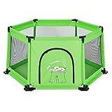 男の子と女の子のためのポータブル折りたたみ式遊び場運動フェンス (色 : Green)