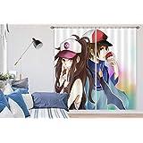 3D ポケットモンスター 9226 日本のアニメ ブロックアウトフォトカーテンプリントカーテンドレープファブリックウィンドウ| 3Dラージ写真カーテン, AJ WALLPAPER Angelia (320cmx270cm(WxH)【126''x 106''】)