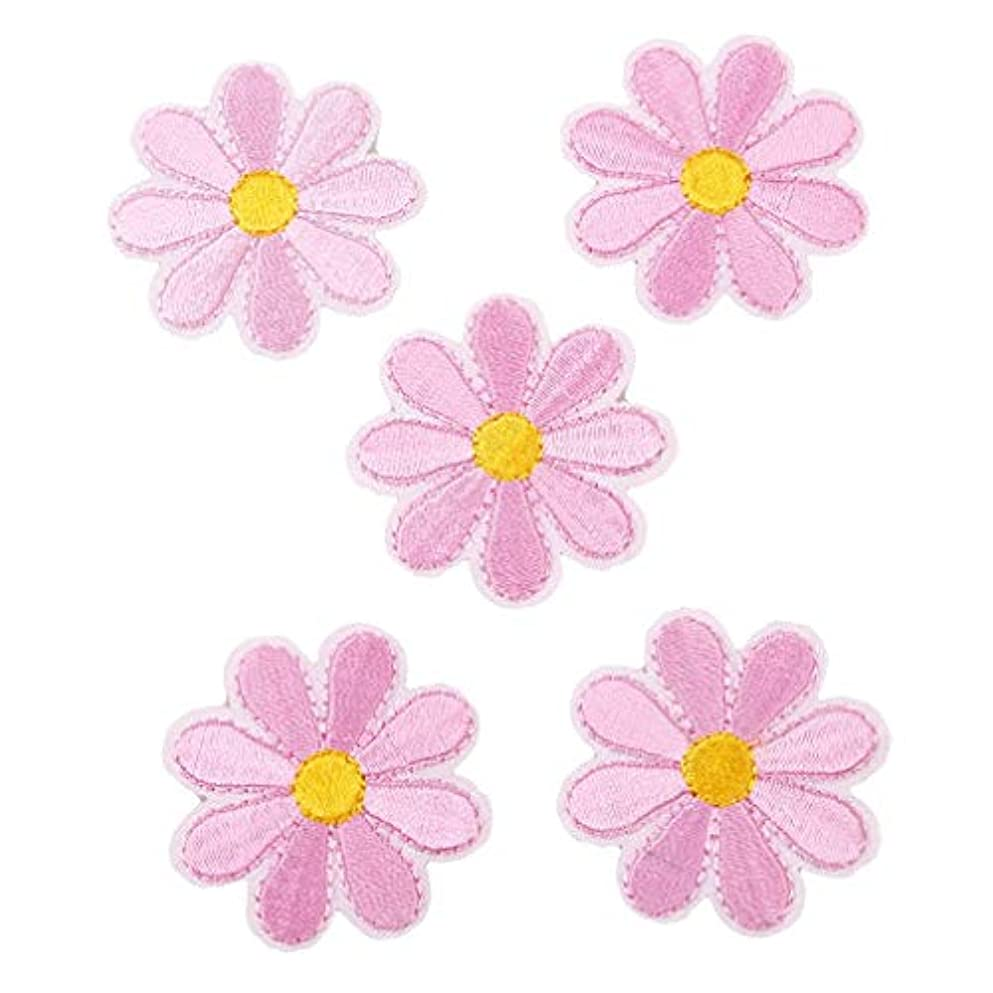 皿炭素薬を飲むOnior パッチステッカー 花 ワッペン アップリケ 刺繍 花パッチ 可愛い 貼り付け 縫い付け 手作り 手芸 アクセサリーパーツ 5枚入り
