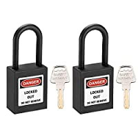 uxcell uxcellロックアウトタグアウトロック 38 mmシャックルキー同様安全パドロックプラスチックロックブラック2個入り