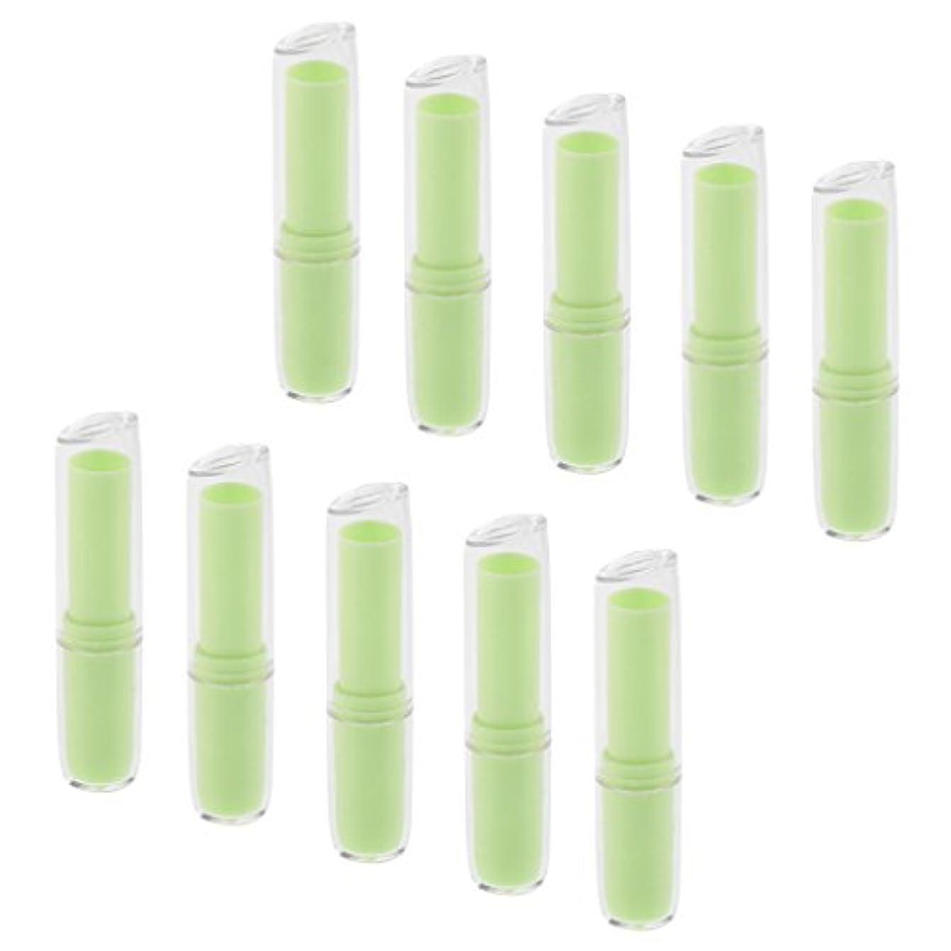 見かけ上クラッシュ名前で10個の空の口紅チューブリップクリーム容器DIY化粧品メイクアップツール - 緑