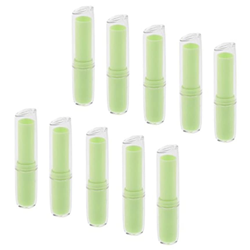 ひいきにする間欠知覚的10個の空の口紅チューブリップクリーム容器DIY化粧品メイクアップツール - 緑