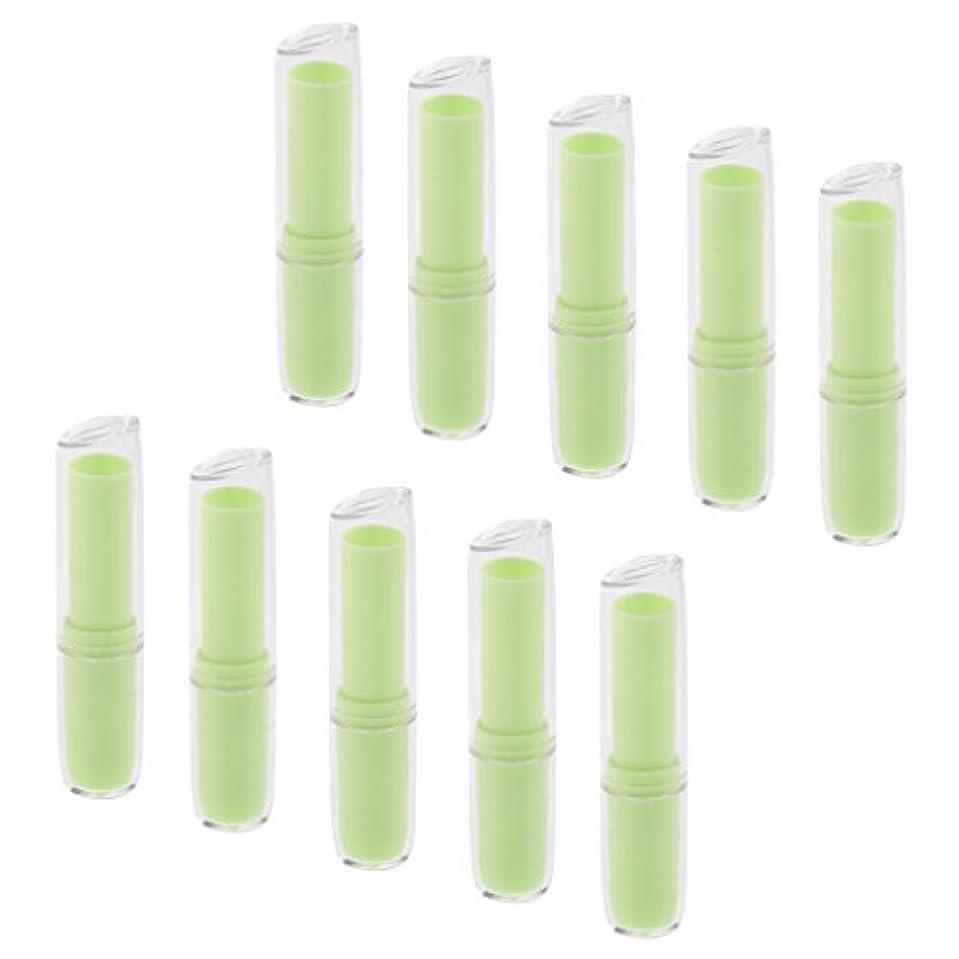 大気北横10個の空の口紅チューブリップクリーム容器DIY化粧品メイクアップツール - 緑