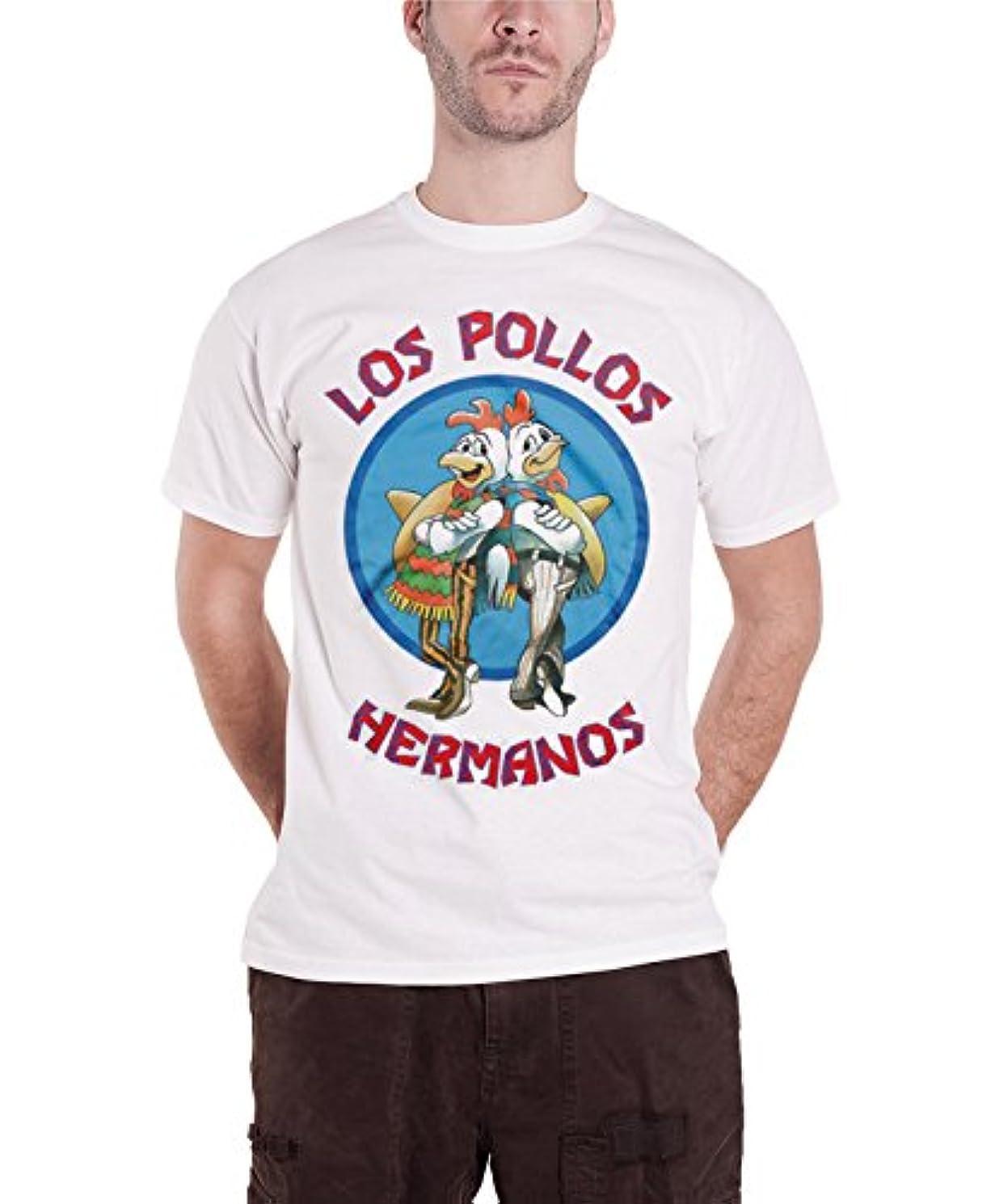 直立同時ブレスOfficially Licensed Merchandise Breaking Bad Los Pollos Hermanos Mens T-Shirt (White)