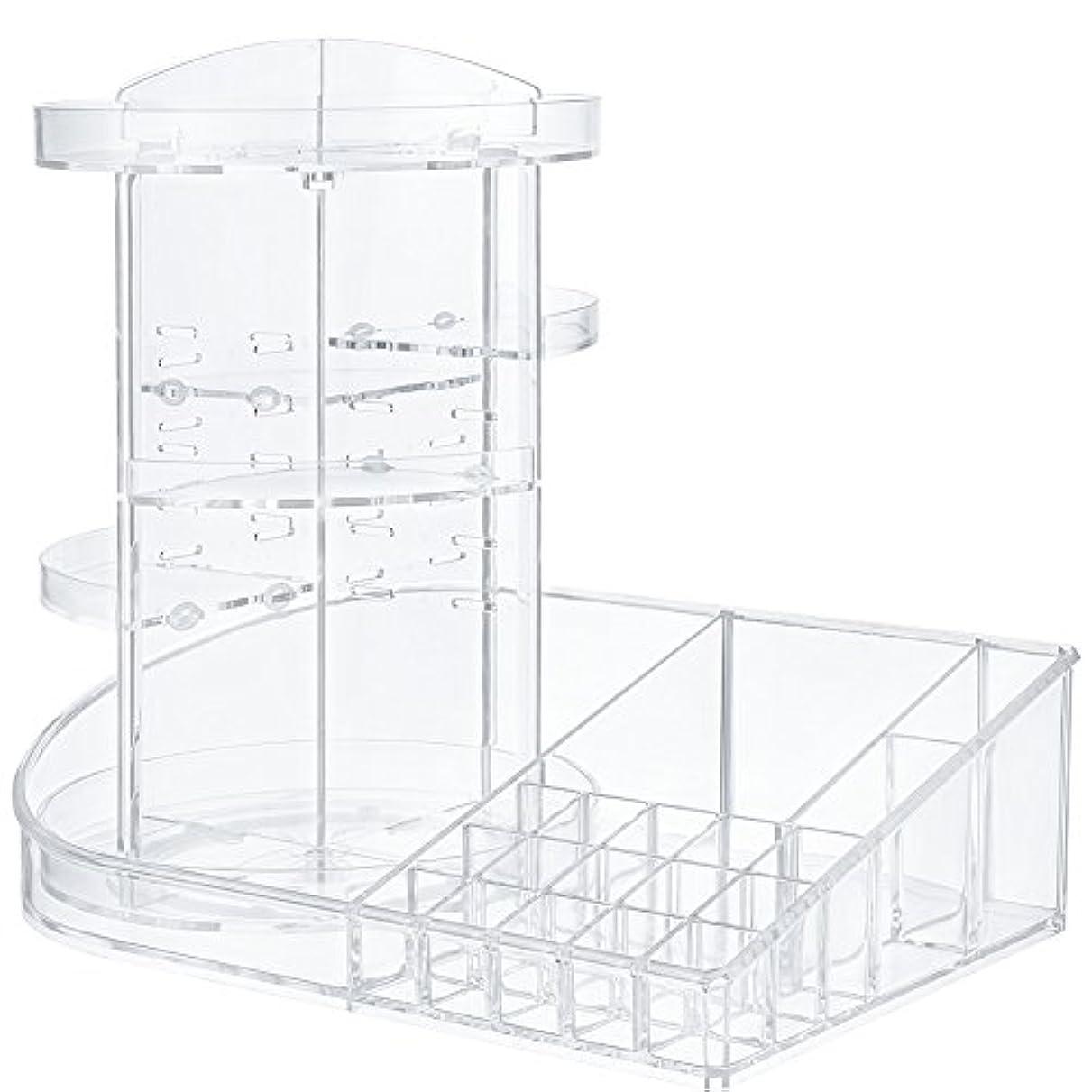 数四面体長くするJerrybox コスメ収納 メイクボックス 回転 化粧品収納 コスメボックス (組み合わせ, ホワイト)