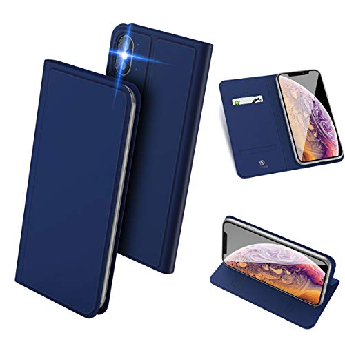 iPhone XS Max ケース 手帳型 スマホケース 高級PU レザー 超薄型 軽量 耐衝撃 ワイヤレス充電対応 アイフォン XS マックス カバー カード収納 スタンド機能 マグネット付き 人気 (ブルー)