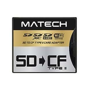 MATECH WiFiSD/SDXC/SDHC/SDカード から CFカード TypeII 高速 変換 アダプタ [日本メーカー] [日本語パッケージ品] (1年保証) SD2CF2AD