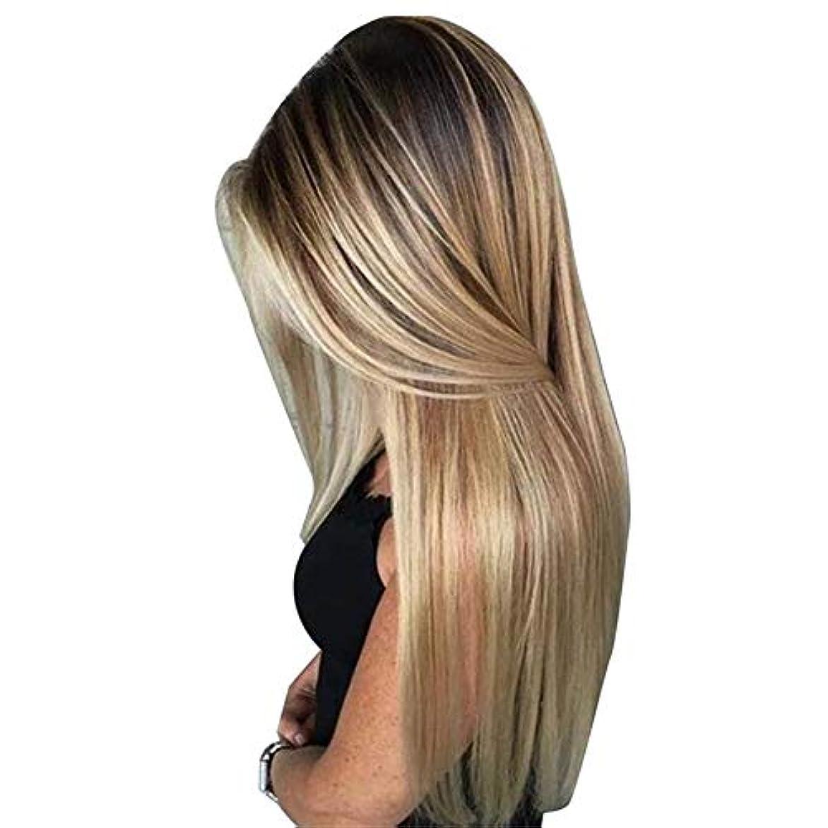 属する霜ピラミッドBULemonロングストレートヘア高温シルクウィッグブロンドの人工毛ウィッグレディースロングストレートヘアウィッグ