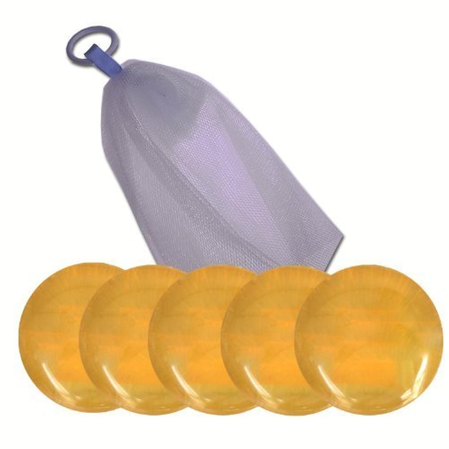 典型的なシンポジウム食品瑚泡美肌ハチミツ石けん100g×5個 (泡立てネット/使用説明書付き)