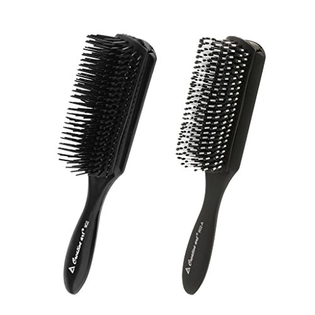 ネスト完了まっすぐにするCUTICATE 2本の黒い髪のスタイリングの櫛頭皮マッサージブラシサロン理髪用