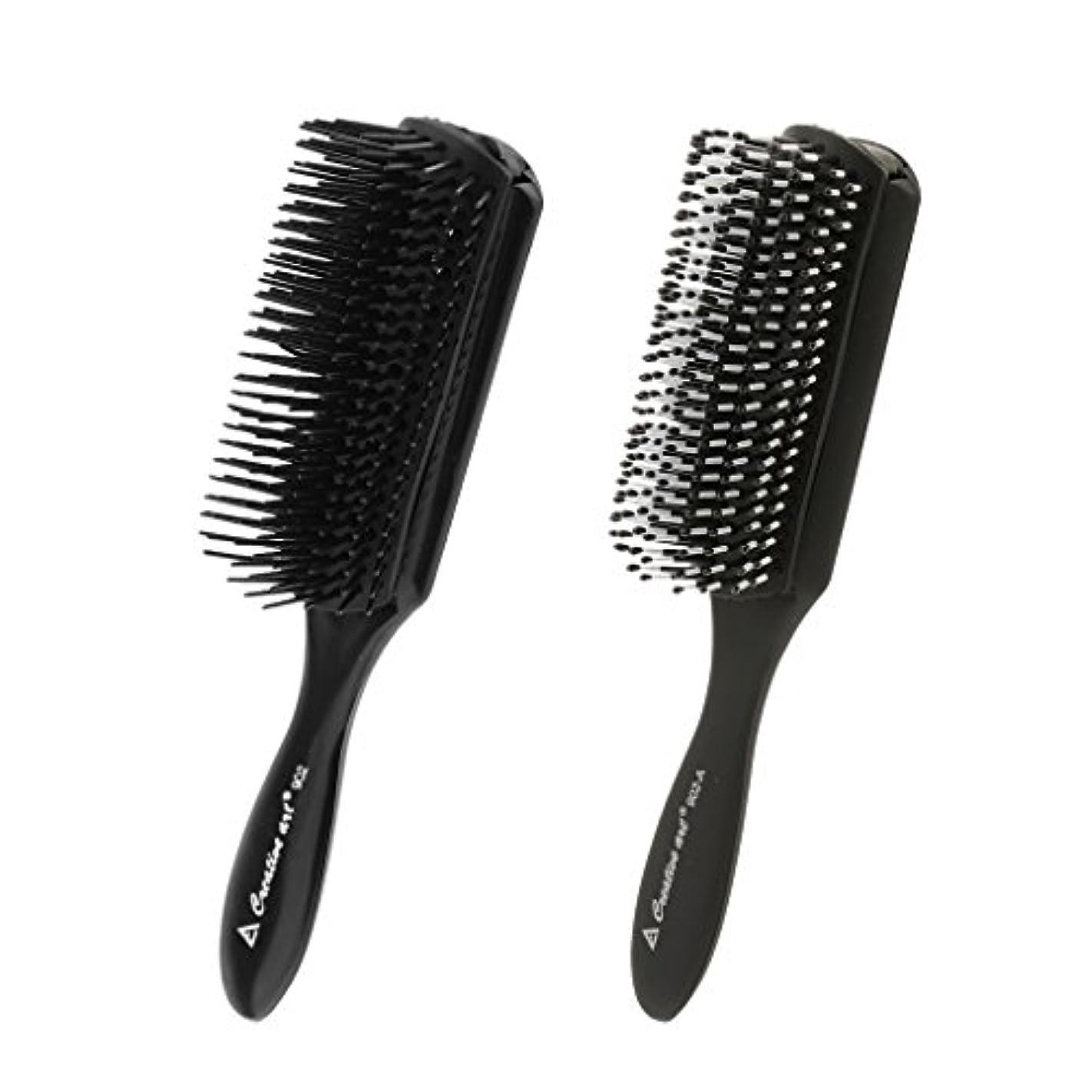 インレイ付き添い人担保CUTICATE 2本の黒い髪のスタイリングの櫛頭皮マッサージブラシサロン理髪用