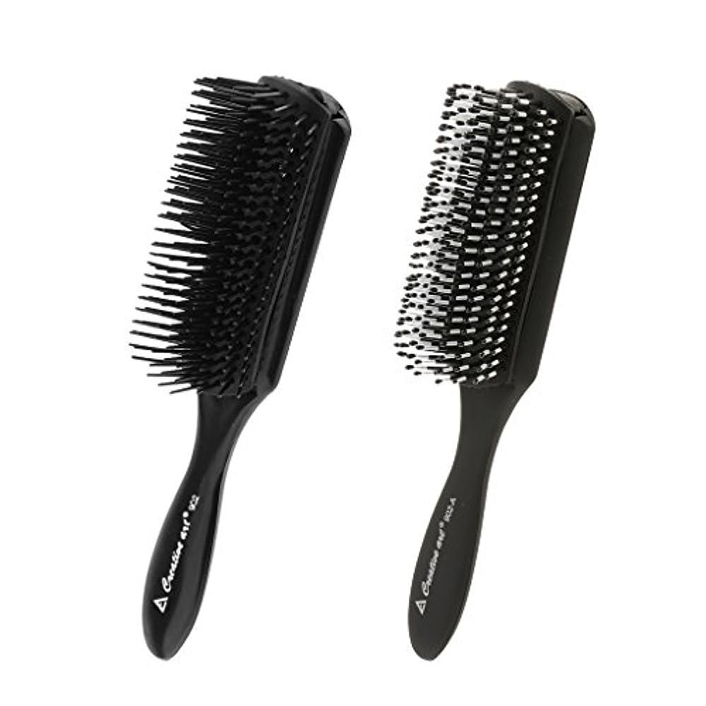中断プラカード優雅なCUTICATE 2本の黒い髪のスタイリングの櫛頭皮マッサージブラシサロン理髪用