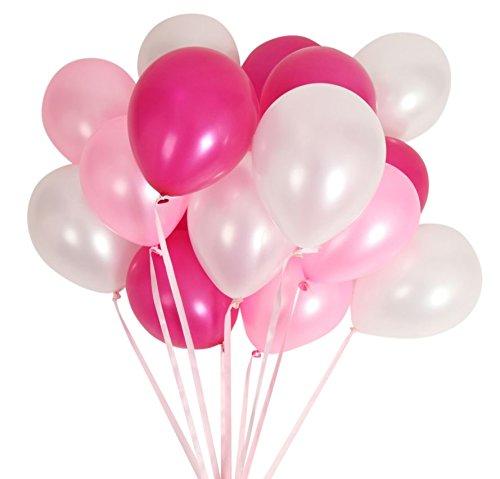 (ジンセルフ) JINSELF あんしん極厚風船 100個セット 弾力2倍 高品質 キラキラ光沢 誕生日 結婚式 パーティー 飾り 装飾 空気入れ ピンクローズ JINSELF
