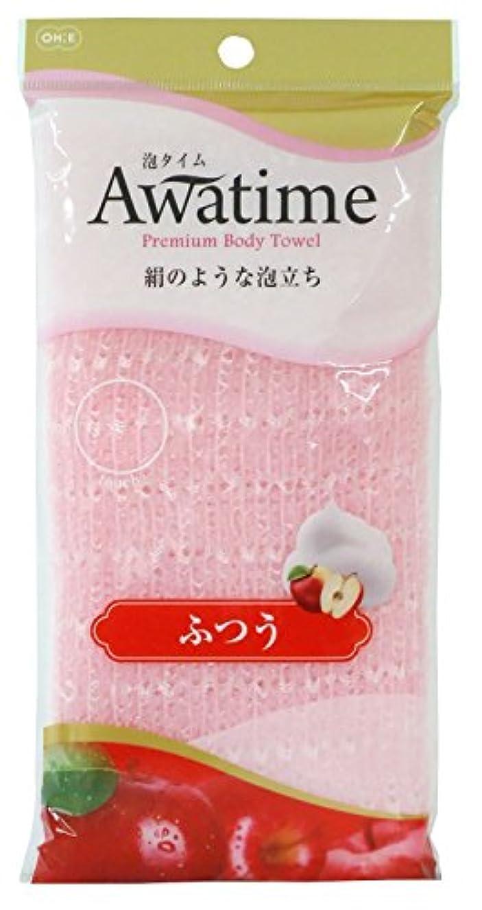 隠されたノート無効オーエ 泡タイム ボディ タオル ふつう ピンク 約22×100cm 絹のような 泡立ち
