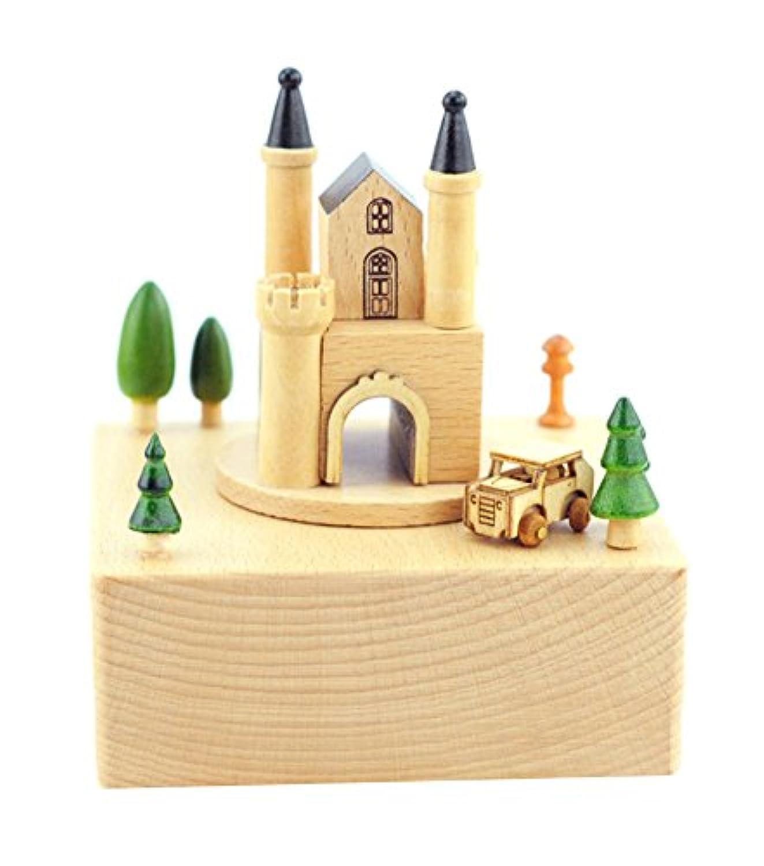 家のためのヨーロッパの城と車の木製のオルゴールのファッションの装飾
