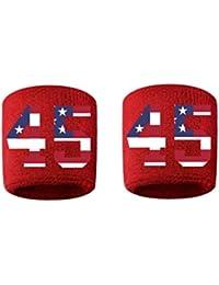 # 45刺繍/ステッチ汗止めバンドリストバンドレッドSweat Band w / USAアメリカ国旗数( 2パック)