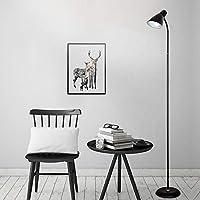 YZUEYT フロアランプファッションメタルシンプルフロアランプクリエイティブベッドルームリビングルームホテルledフロアランプ YZUEYT (Color : Black)