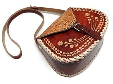 メキシコ土産 革製 ショルダーバッグ 大・ブラウン