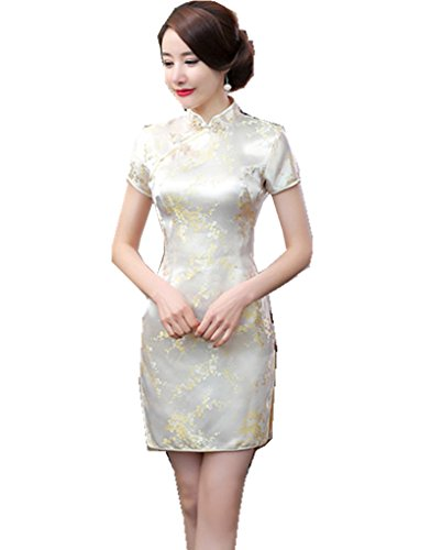 (上海物語) Shanghai Story 梅の花柄 半袖 カラー ミニ チャイナドレス(レディース、女性用)ドラゴン パーティー ワンピース ショート丈 スリット ワンピ ドレス S Light Gold