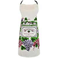 DII 100% Cotton, Printed Unisex Bib Chef Kitchen Apron, Adjustable Neck & Waist Ties, Front Pocket, Durable, Comfortable, Perfect for Cooking, Baking, BBQ - Vineyard