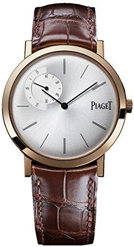 ピアジェAltiplanoメンズローズゴールド超薄型hand-wound機械シルバーダイヤルスイス製時計g0a34113
