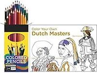 Vermeer レンブラント アーティスト スタジオ カラーリング パック ダッチ + 24色鉛筆 最高の芸術作品(イラスト)クリエイティブブック バンドル