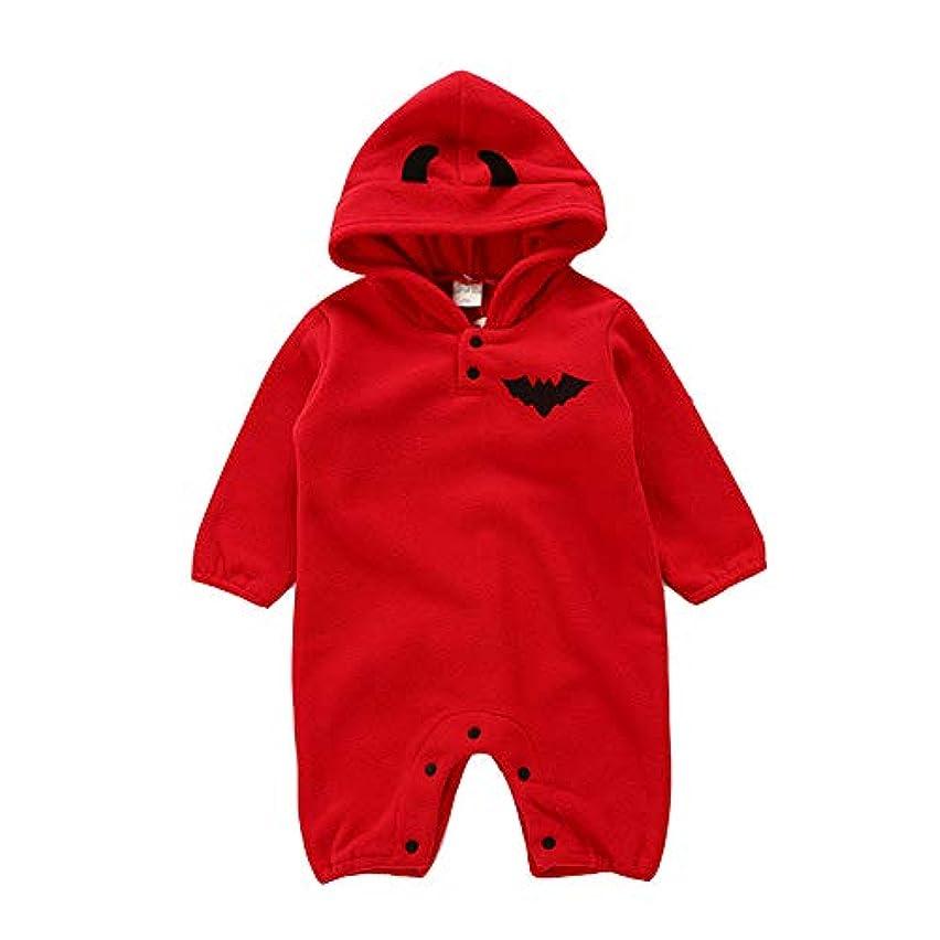 篭付き添い人本気ALLAIBB ロンパース ハロウィン 衣装 着ぐるみ カバーオール 裏起毛 カボチャ 子供服 仮装 女の子 男の子 size 70 (赤)