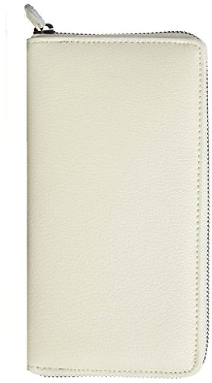 バッフルまだら険しいカード収納40枚が魅力!デキる男の牛革エンボス加工ラウンド長財布 [ イギンボトム8011 ] 誕生日プレゼント メンズ 財布 (ホワイト)