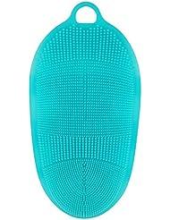LattoGe シリコーンマッサージバスブラシ, フェイス、ボディ、足のマッサージブラシ, 毛穴の清潔、角質除去 (青)