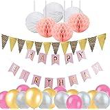 Perfeclan 誕生日装飾 バナー ハニカムボール バルーン パーティーサプライヤー ピンク