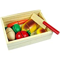 MonkeyJack Assorted Fruits and Vegetables Crate for Kids Pretend Games Educational
