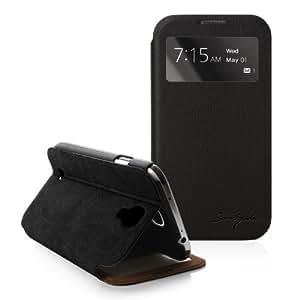 ブラック-NTT DOCOMO SC-04E専用カバーGalaxy S4(IV) Italian Standing View Cover for Galaxy S4(SC-04E,i9500)向け専用ビューケース(閉じたまま液晶が見える) (ブラック)