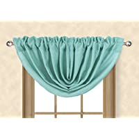 AikingホームヴィンテージFaux Linen Waterfall Valance for Windows 45