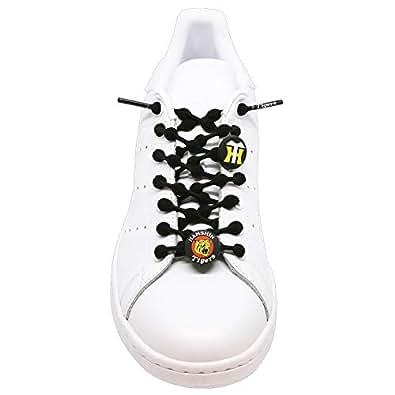 [COOLKNOT] クールノット 結ばない 靴ひも ゴム 〈スパンデックス〉 楽々 スニーカー ほどけない 男女兼用 (スポーツ ジム 運動用 ランニング ハイキング) 脱ぎ履きしやすい 【阪神 タイガース モデル ロゴ クールビッツ付き】 L ブラック