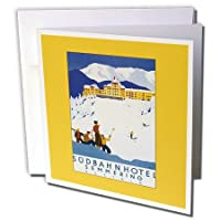 BLNビンテージ旅行ポスター、荷物タグ–SudbahnホテルSemmeringオーストリアSnow Covered山とスキー選手–グリーティングカード Set of 12 Greeting Cards