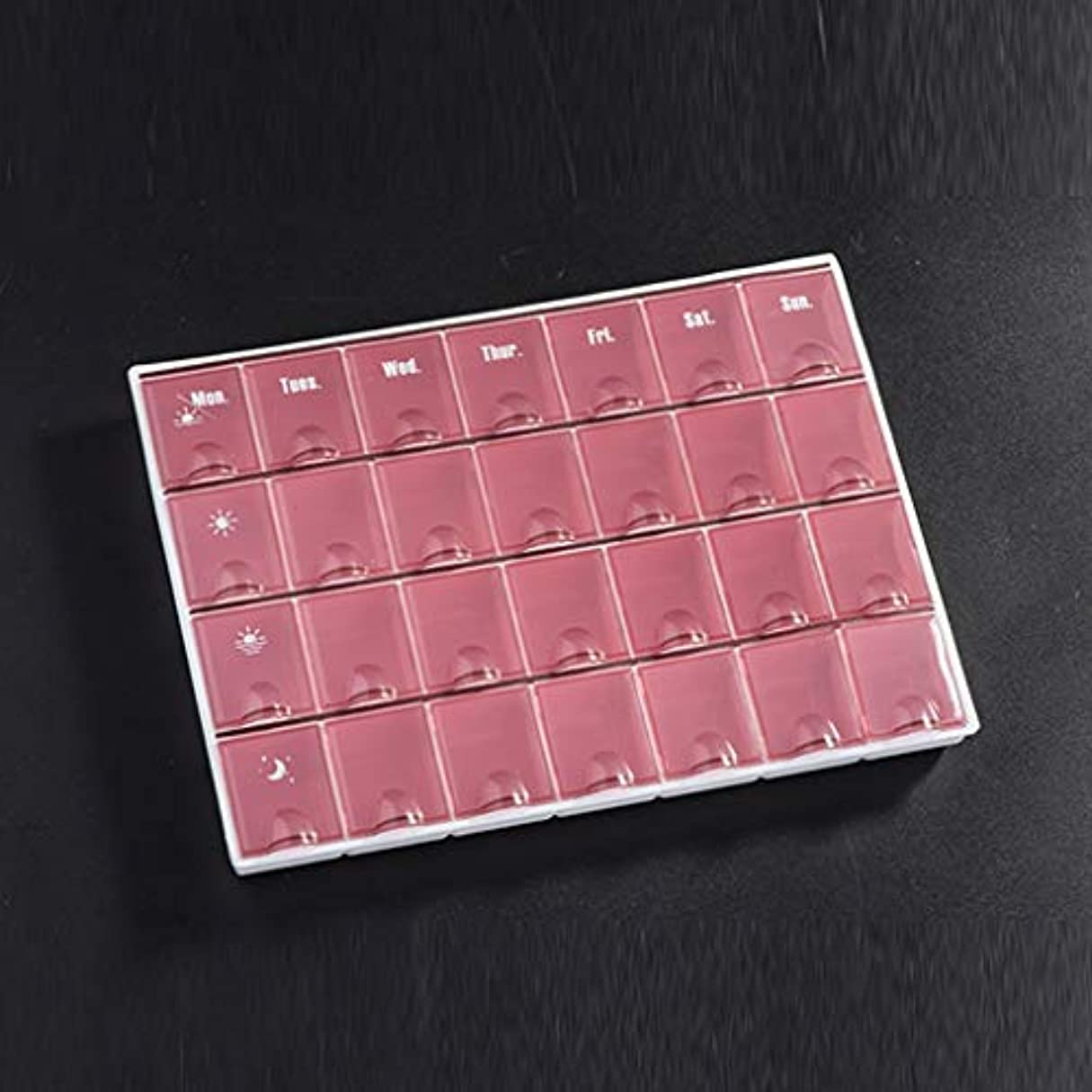 LWWOZL 家庭用薬毎週薬箱大容量を毎日7日間調剤朝、中、晩、28、家庭薬保管箱 (Color : Brown, Size : 21.5cm×15.8cm×2.1cm)