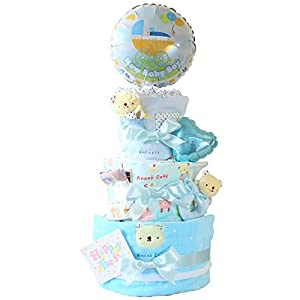 ベビーアルテ アナノカフェ うさちゃん くまちゃん 3段 おむつケーキ 【おむつ:パンパースSサイズ】くまちゃんブルー