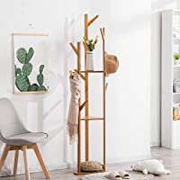 ハンガー - シンプルなコートラックバンブーベッドルームハンガー衣類棚フロアスタンドの家庭用ストレージシェルフ -Home Decor