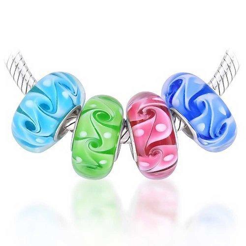 [ブリング・ジュエリー] Bling Jewelry水色 黄緑 ピンク 青 4色 ビーズ セット ムラノ ガラス ベネチアン グラス チャーム [インポート]