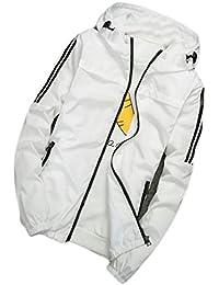 Fly Year-JP メンズ長袖ジップアップ通気性のよい軽量フードジャケットコート春