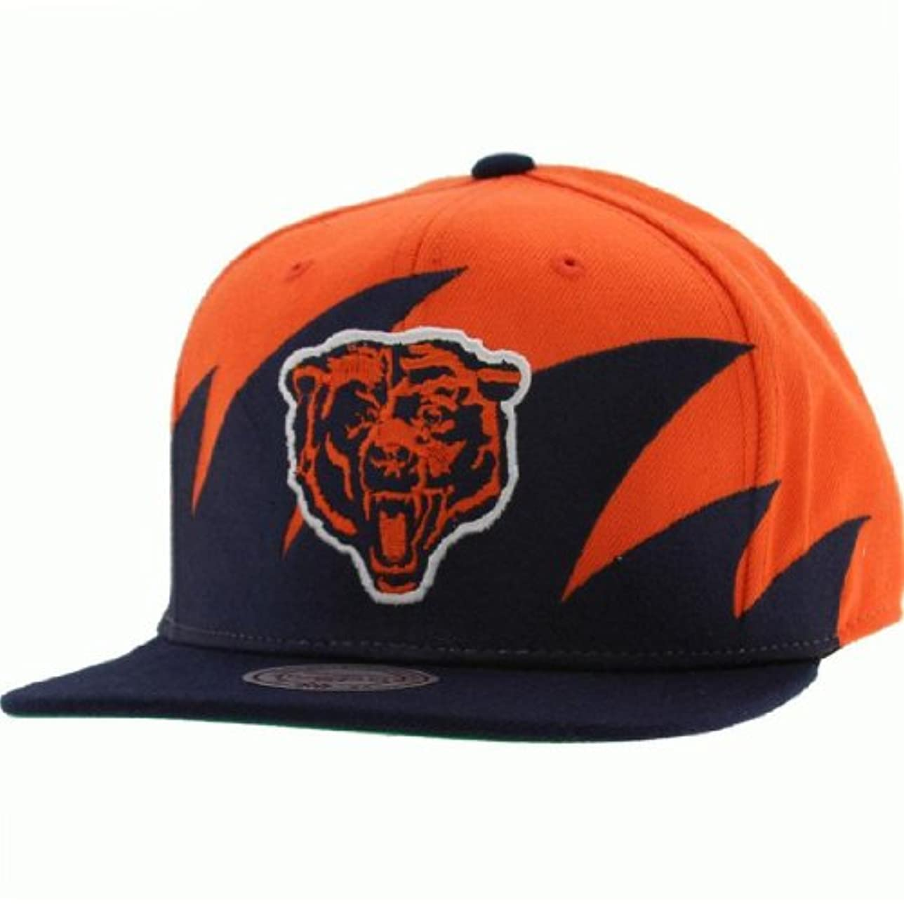 挑むタイプメドレーNFL Mitchell & Ness Chicago Bears Navy blue-orange NFL Sharktoothスナップバック調節可能な帽子