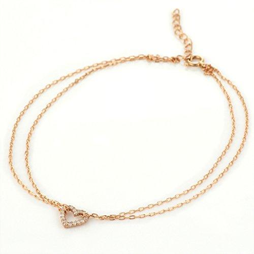 [해외][스에 히로] SUEHIRO K18 핑크 골드 다이아몬드 발찌 (오픈 하트)/[Sue Hiro] SUEHIRO K18 pink gold diamond anklet (open heart motif)