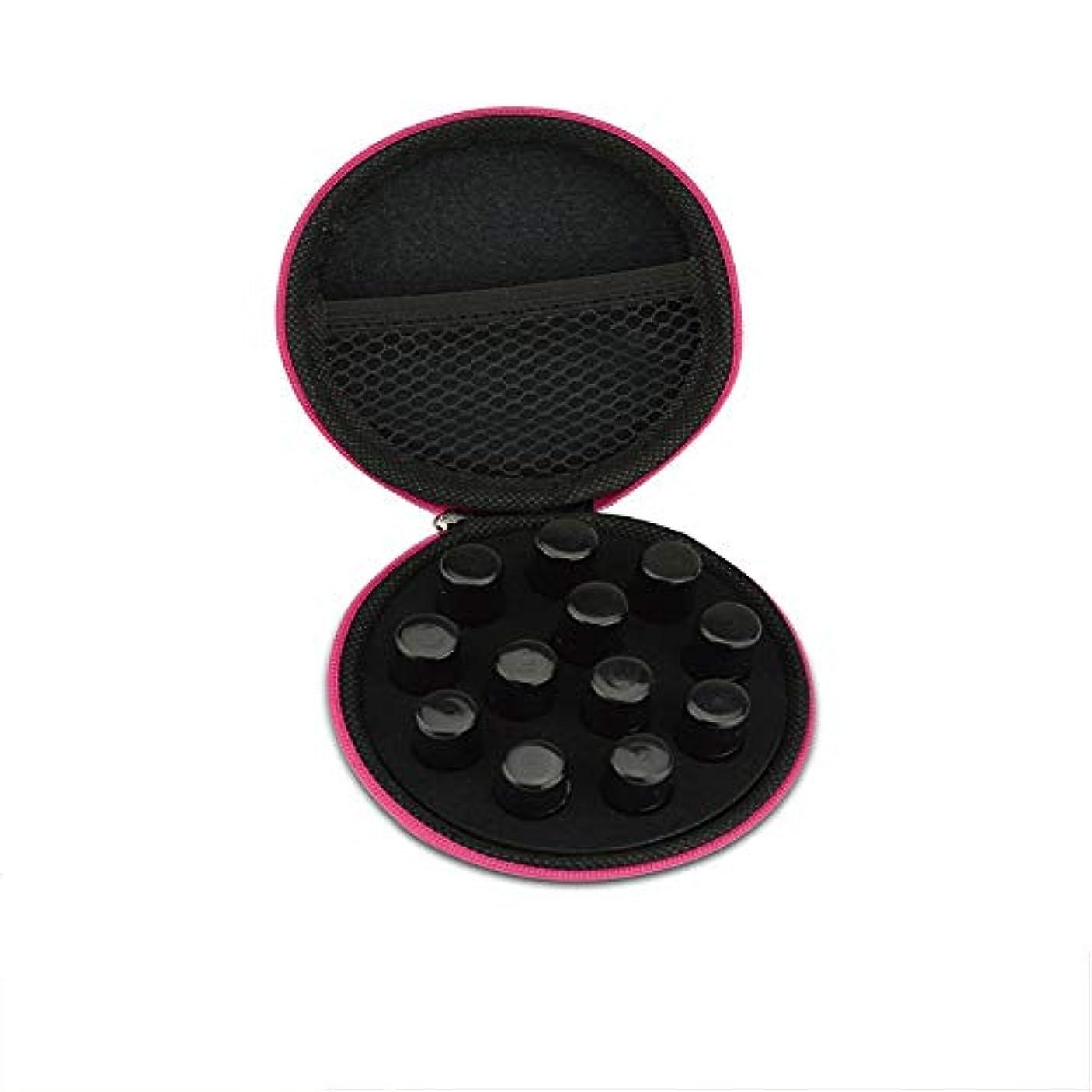 いらいらさせるエスカレートライム精油ケース ラウンドローラーボトル用ケースバッグエッセンシャルオイルケースパーフェクトキャリング12パックミニローラーボトルはブラック2mlの 携帯便利 (色 : ブラック, サイズ : 10X10CM)