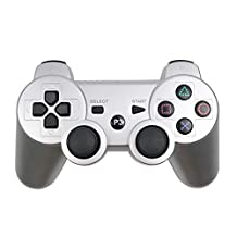 QXFD Bluetooth Wireless Gamepad for Play Station 3 Joystick Console for Dualshock 3 Controle For PC For SONY PS3 Controller (Color : Silver)