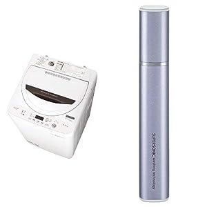 シャープ 全自動洗濯機 ステンレス槽 4.5kg ホワイト系 ES-GA4B-W 超音波ウォッシャー バイオレット系 セット