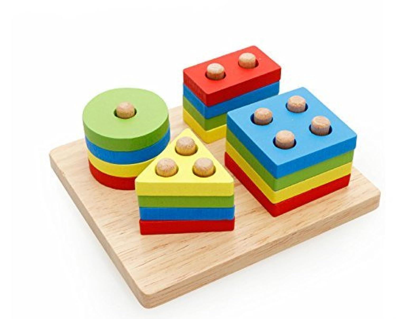 Xin Store木製ベビーシェイプ&色並べ替え/ Stacking Toy