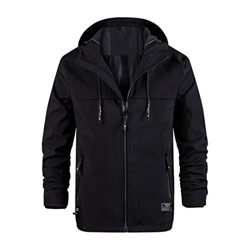 秋服 メンズ ジャケット カジュアルジャケット フード付き 無地 運動 シンプル ジャケット 黑 L